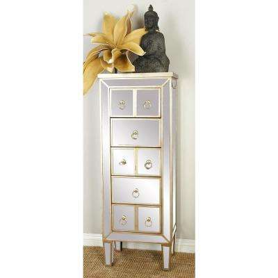 Champagne Ivory Retro Modern Mirrored Glass Chest