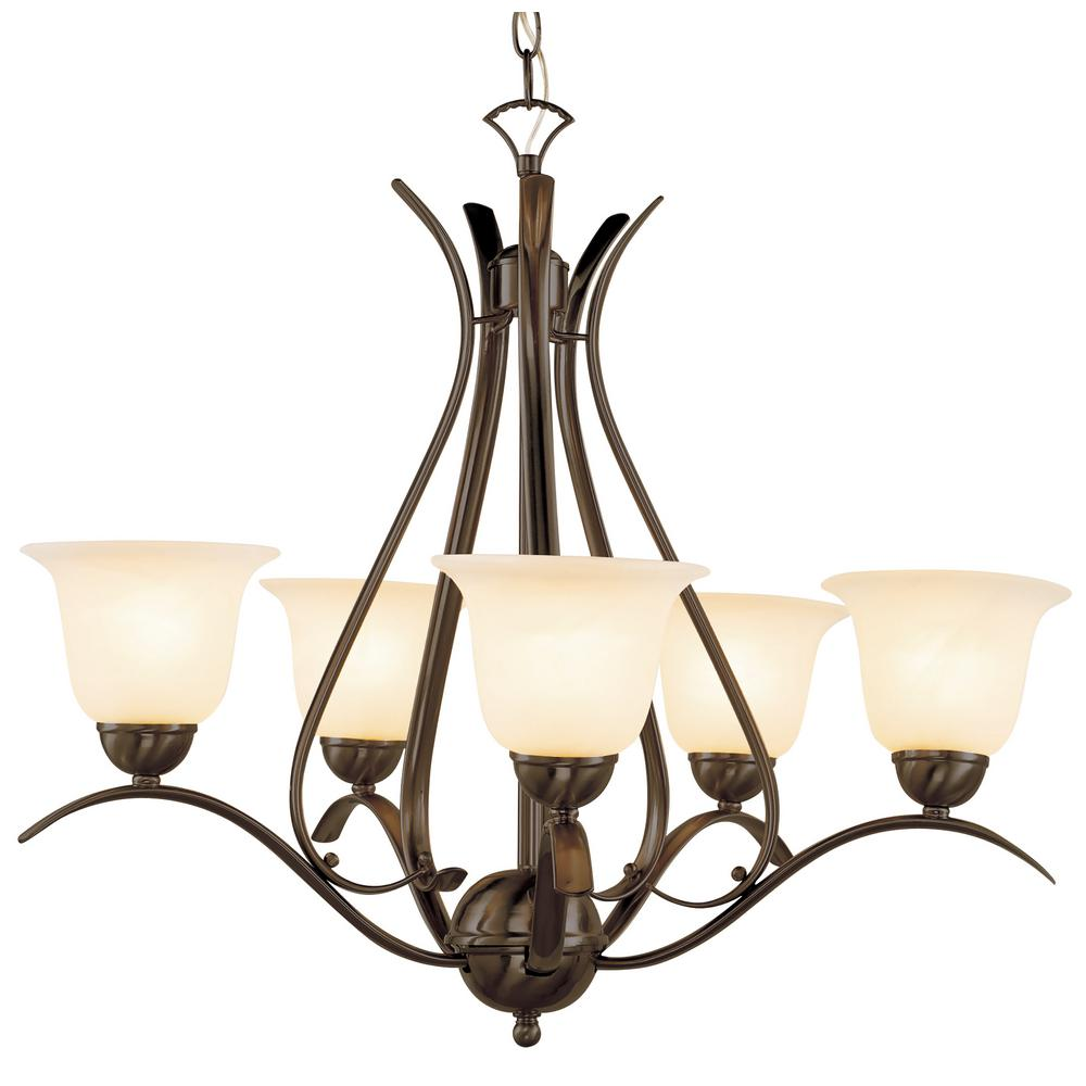 Bel Air Lighting Aspen Rubbed Oil Bronze 5 Light Chandelier In With Marbleized Shade