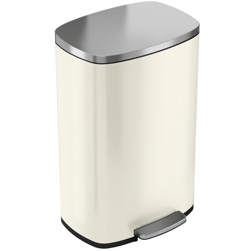 iTouchless SoftStep 13.2 Gal. Ivory White Stainless Steel Trash Can with  Odor Control System and Inner Bucket for Office,Kitchen
