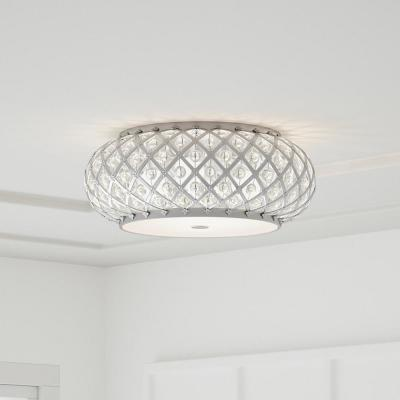 15 in. 5-Light Brushed Stainless Steel Round Flush Mount with Glass Accents