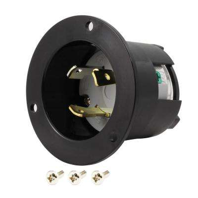 30-Amp Locking 3-Prong 125-Volt NEMA L5-30P Flanged Power Input Inlet