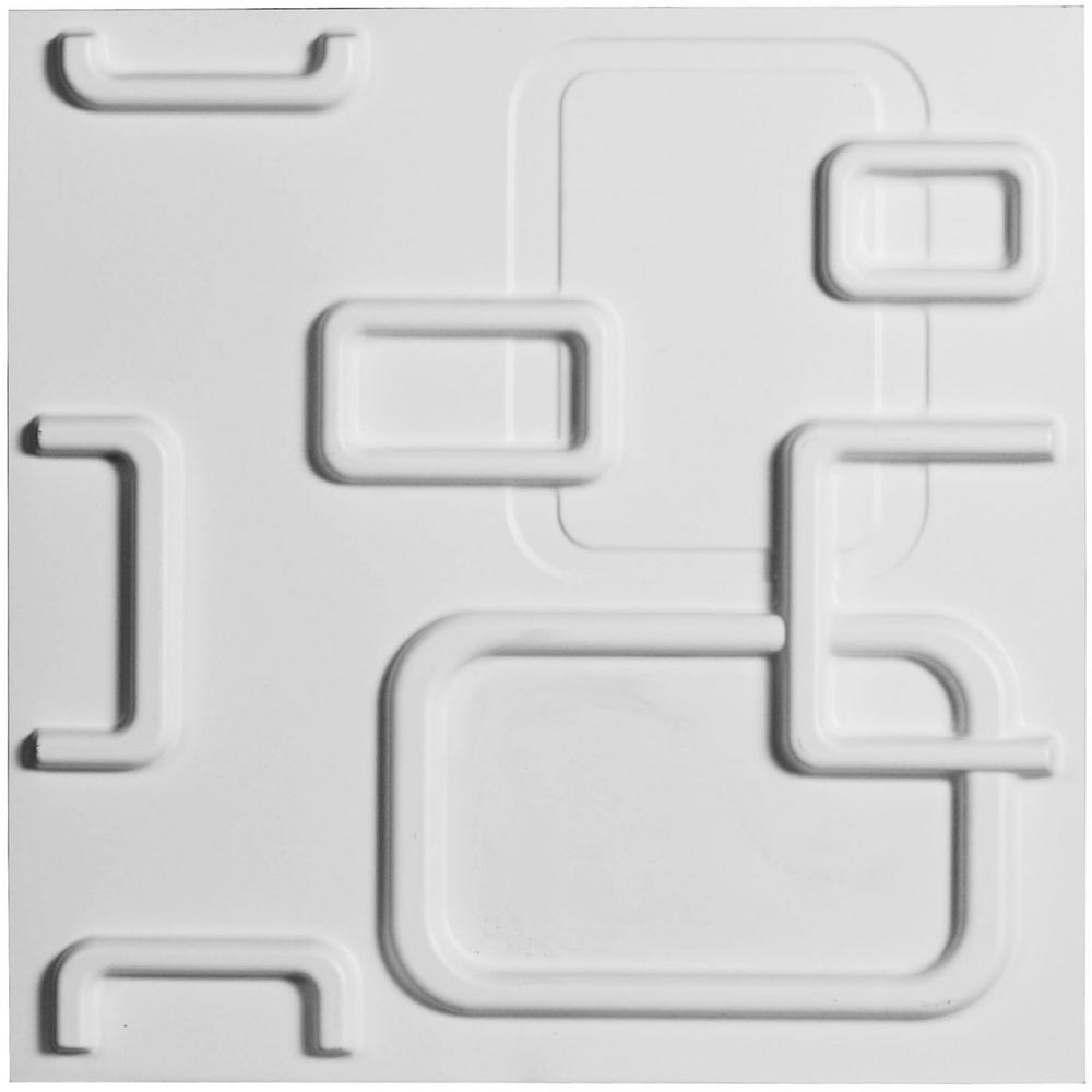 Ekena Millwork 1 in. x 19-5/8 in. x 19-5/8 in. PVC White Odessa EnduraWall Decorative 3D Wall Panel