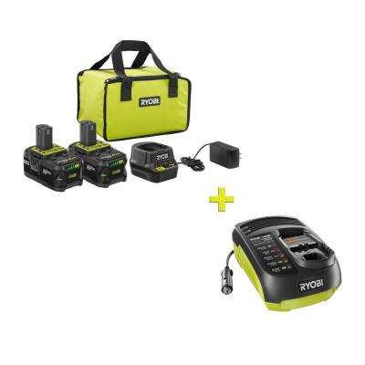 18-Volt ONE+ High Capacity 4.0 Ah Battery (2-Pack) Starter Kit with Charger and Bag with FREE ONE+ In-Vehicle Charger