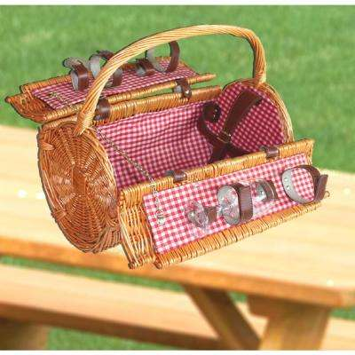 16 in. x 8.5 in. x 14 in. Wicker Picnic Basket with Accessories - Servings for 4