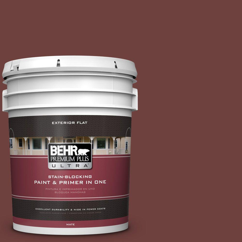 BEHR Premium Plus Ultra 5-gal. #ICC-82 Library Red Flat Exterior Paint