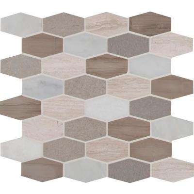 Bellagio Blend Elongated Hexagon 12 in. x 12 in. x 10 mm Honed Marble Mesh-Mounted Mosaic Tile (10 sq. ft. / case)