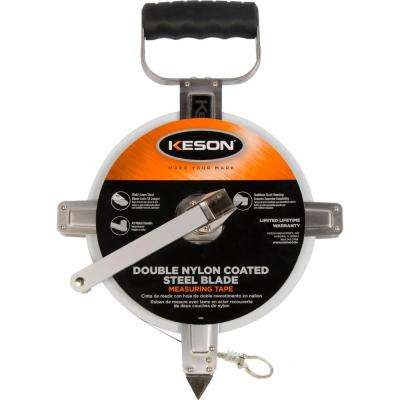 100 ft. Steel Open Reel Tape Measure, Stainless Steel Housing, 10ths