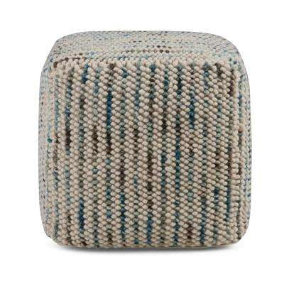Zoey Transitional Cube Woven Pouf in Multi Color Cotton and Wool