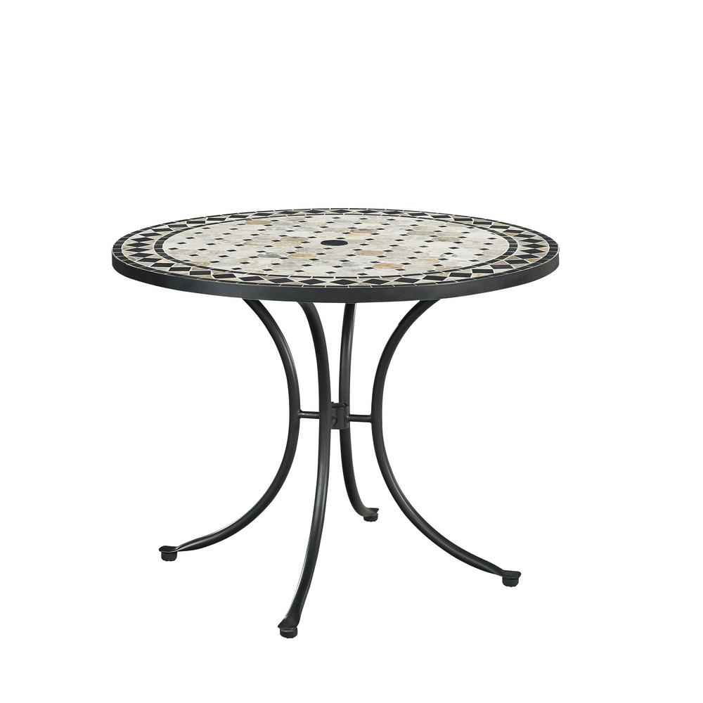 home styles marble top round outdoor dining table 5605 30. Black Bedroom Furniture Sets. Home Design Ideas