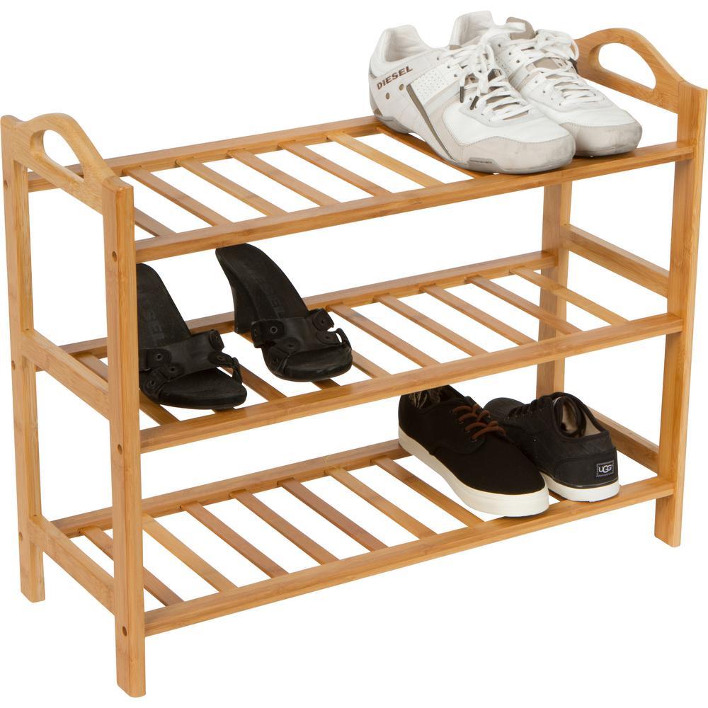 Trademark Innovations 12-Pair 100% Natural Bamboo Shoe Organizer