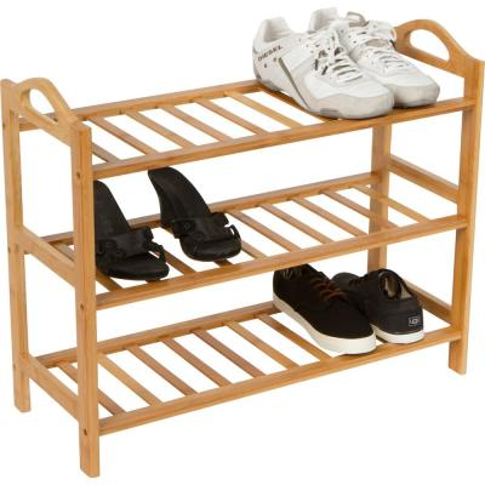 12-Pair 100% Natural Bamboo Shoe Organizer