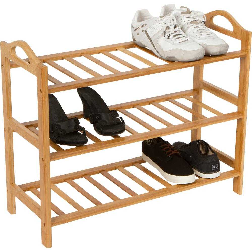 12-Pair 100% Natural Bamboo Shoe Organizer Tan  sc 1 st  Nextag & 100 pair shoe rack | Storage u0026 Organization | Compare Prices at Nextag