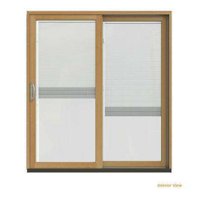 72 in. x 80 in. W-2500 Contemporary Silver Clad Wood Right-Hand Full Lite Sliding Patio Door w/Stained Interior