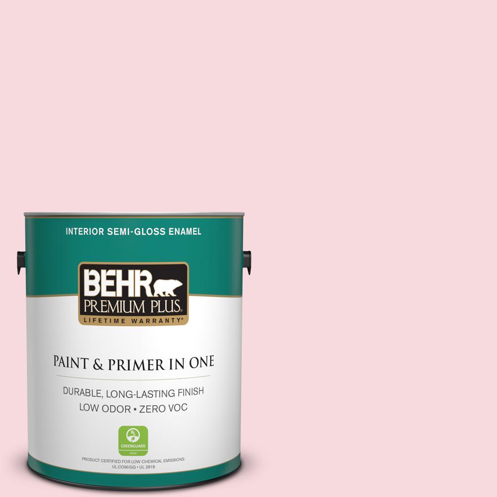 BEHR Premium Plus 1-gal. #130C-1 Powdered Blush Zero VOC Semi-Gloss Enamel Interior Paint