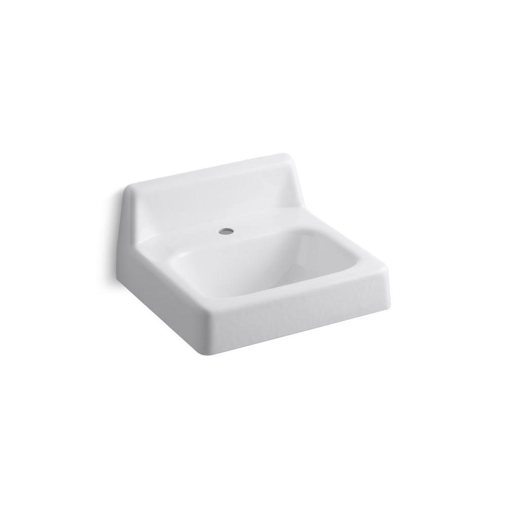 Kohler hudson wall mount cast iron bathroom sink in white - Kohler wall mount bathroom sink faucet ...