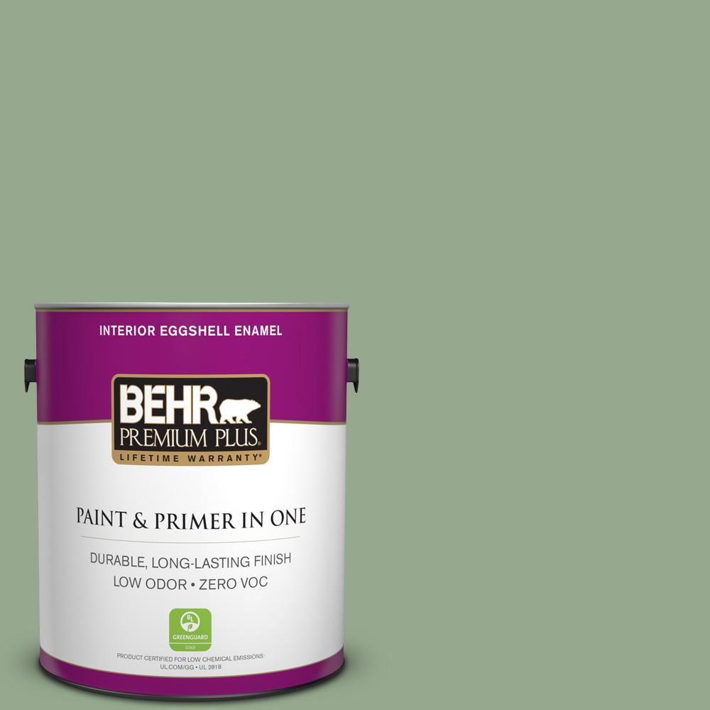 1 gal. #PPU11-05 Pesto Green Zero VOC Eggshell Enamel Interior Paint