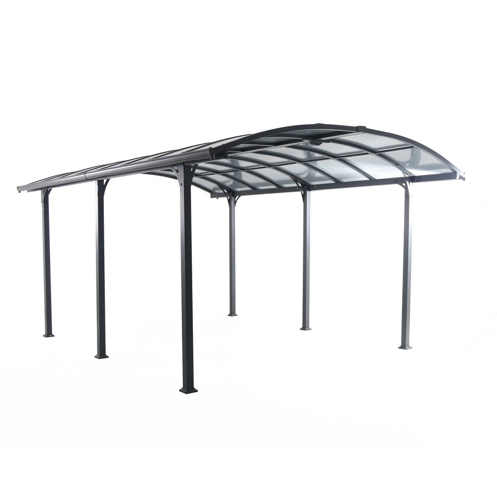 12 ft. W x 16 ft. D x 8 ft. H Steel and Aluminum Carport w/ Light Bar
