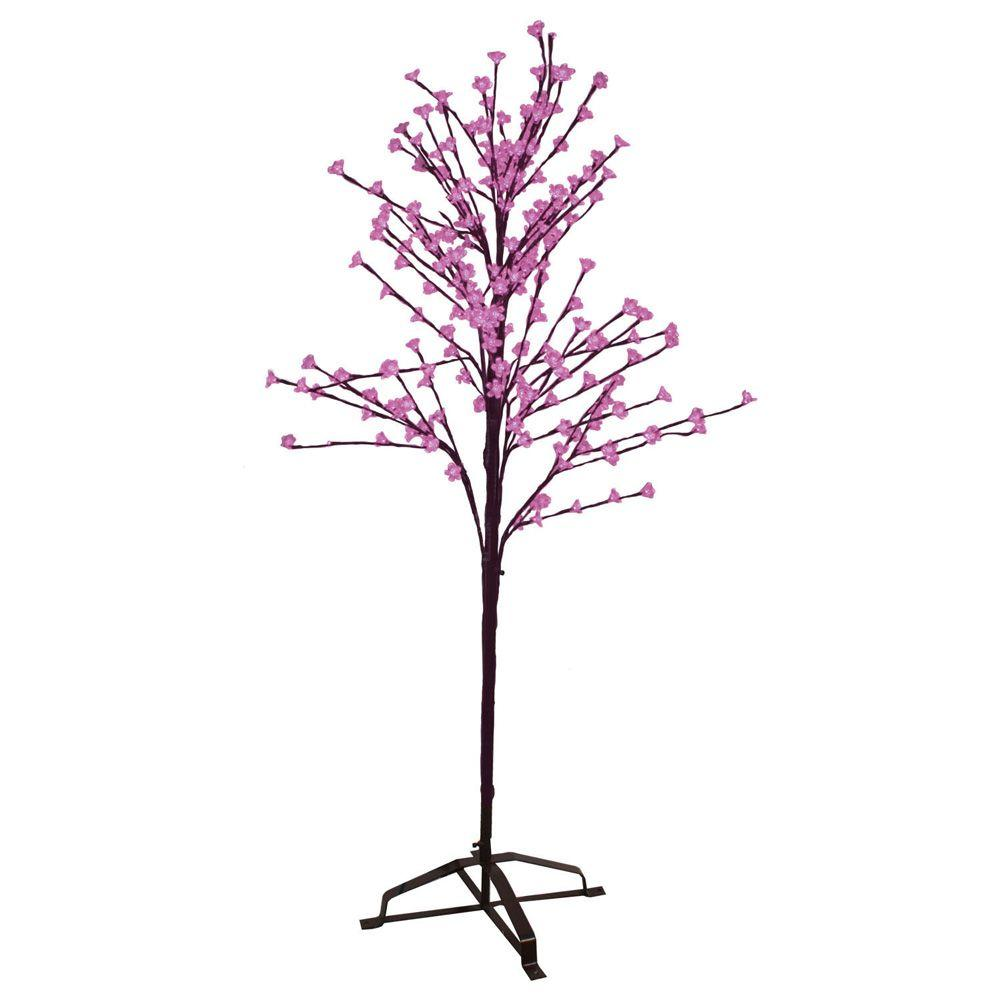 Sterling 6.5 ft. Pre-Lit LED Blossom Artificial Christmas Tree with Pink Lights