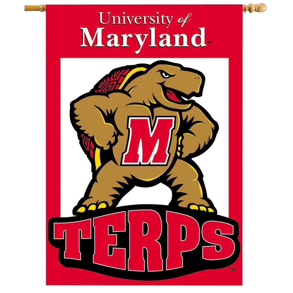 BSI Products NCAA 28 in. x 40 in. Maryland 2-Sided Banner with Pole Sleeve
