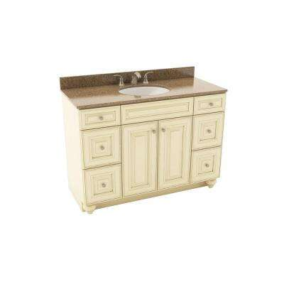 Savannah 49 in. Vanity in Hazelnut with Silestone Quartz Vanity Top in Sienna Ridge and Oval White Sink