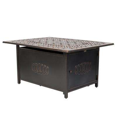 Dynasty 48 in. x 24 in. Rectangle Aluminum Propane Fire Pit Table in Antique Bronze