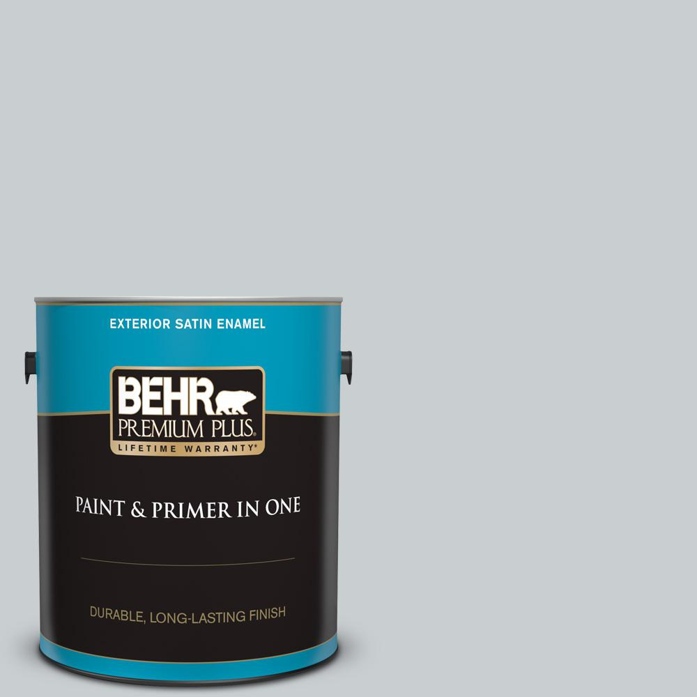 Behr Premium Plus 1 Gal 760e 2 Manhattan Mist Satin Enamel Exterior Paint And Primer In One 905001 The Home Depot