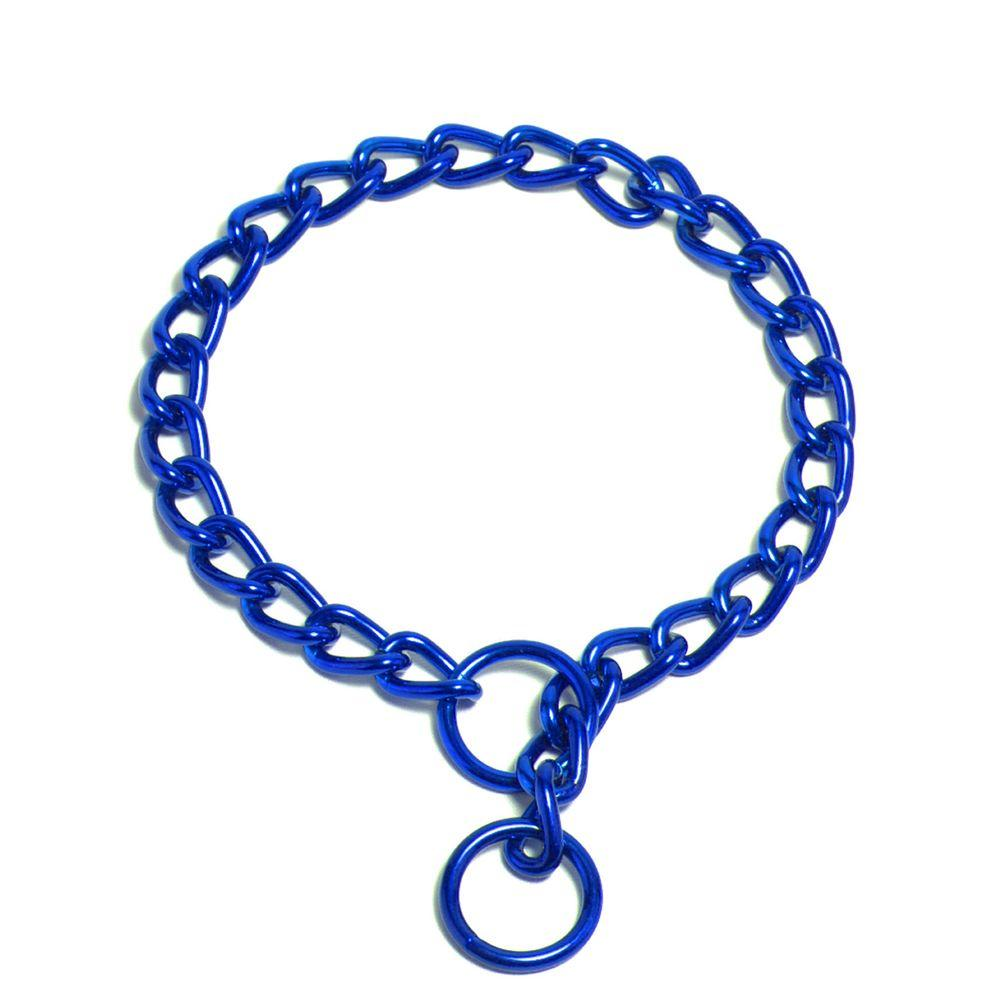 Platinum Pets 24 in. x 3 mm Coated Steel Chain Training Collar in Blue