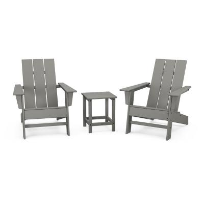 Grant Park Grey Plastic Outdoor Patio Adirondack Chair Set (3-Piece)