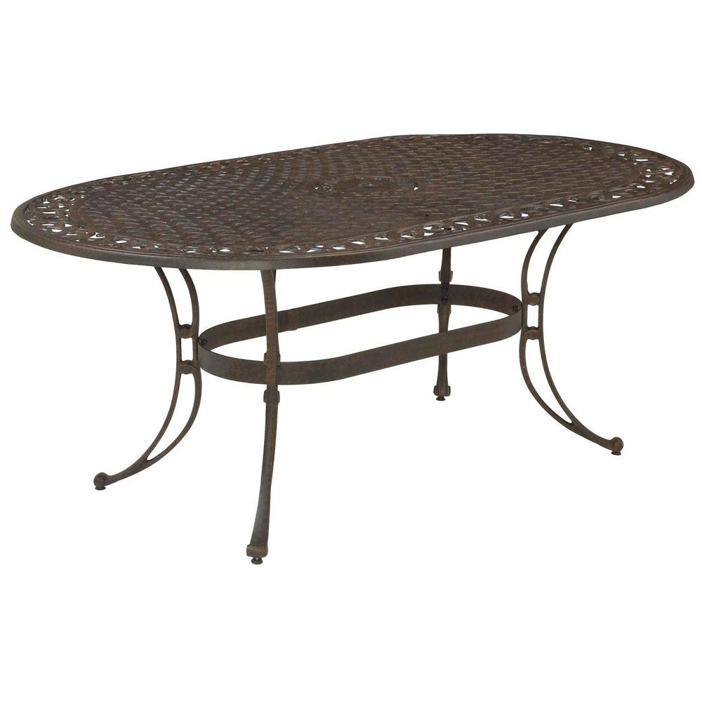 Elegant Bronze Oval Patio Dining Table