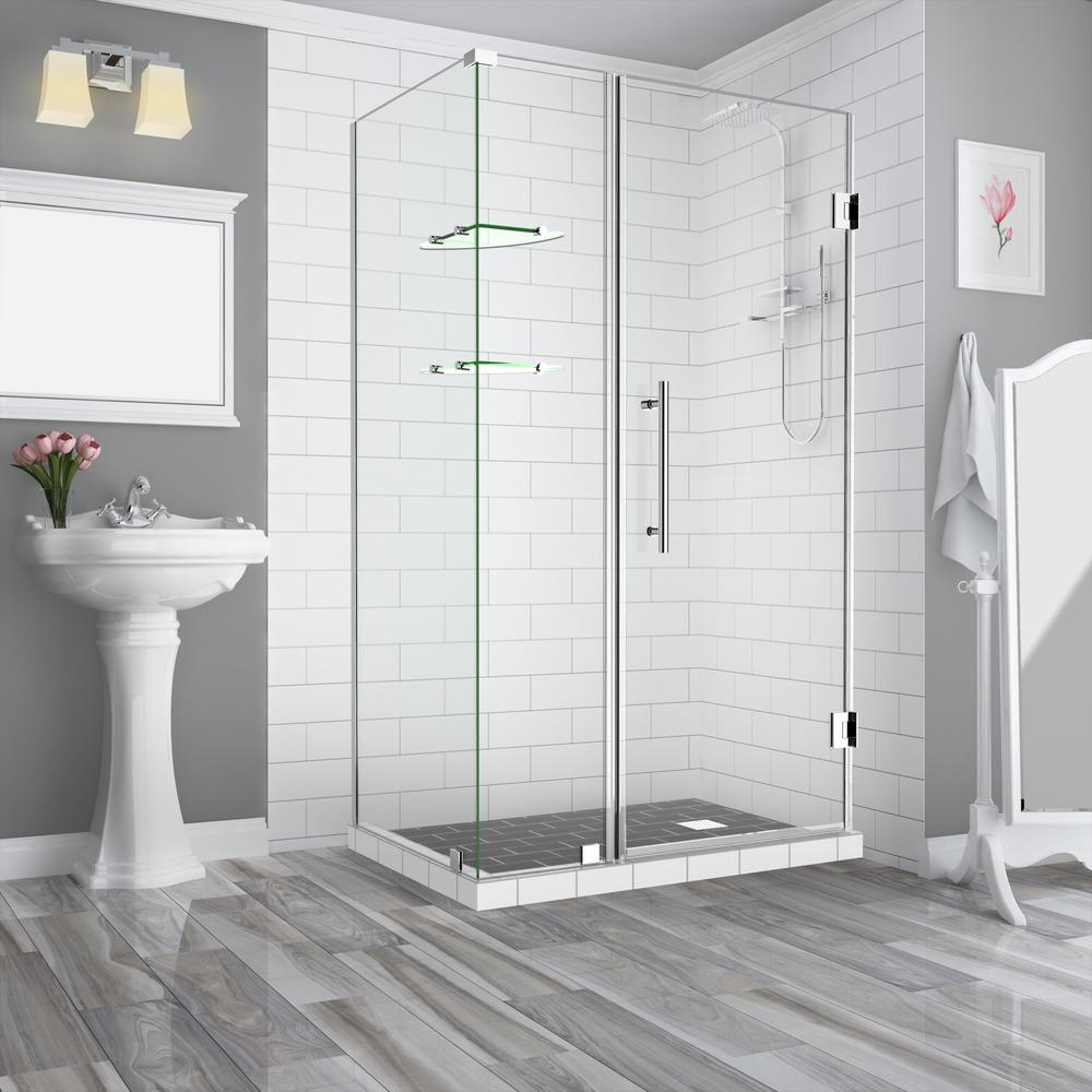 Aston BromleyGS 41.25 in.to42.25 in. x 30.375 in. x 72 in. Frameless Corner Hinged Shower Enclosure w/ Glass Shelves in Chrome
