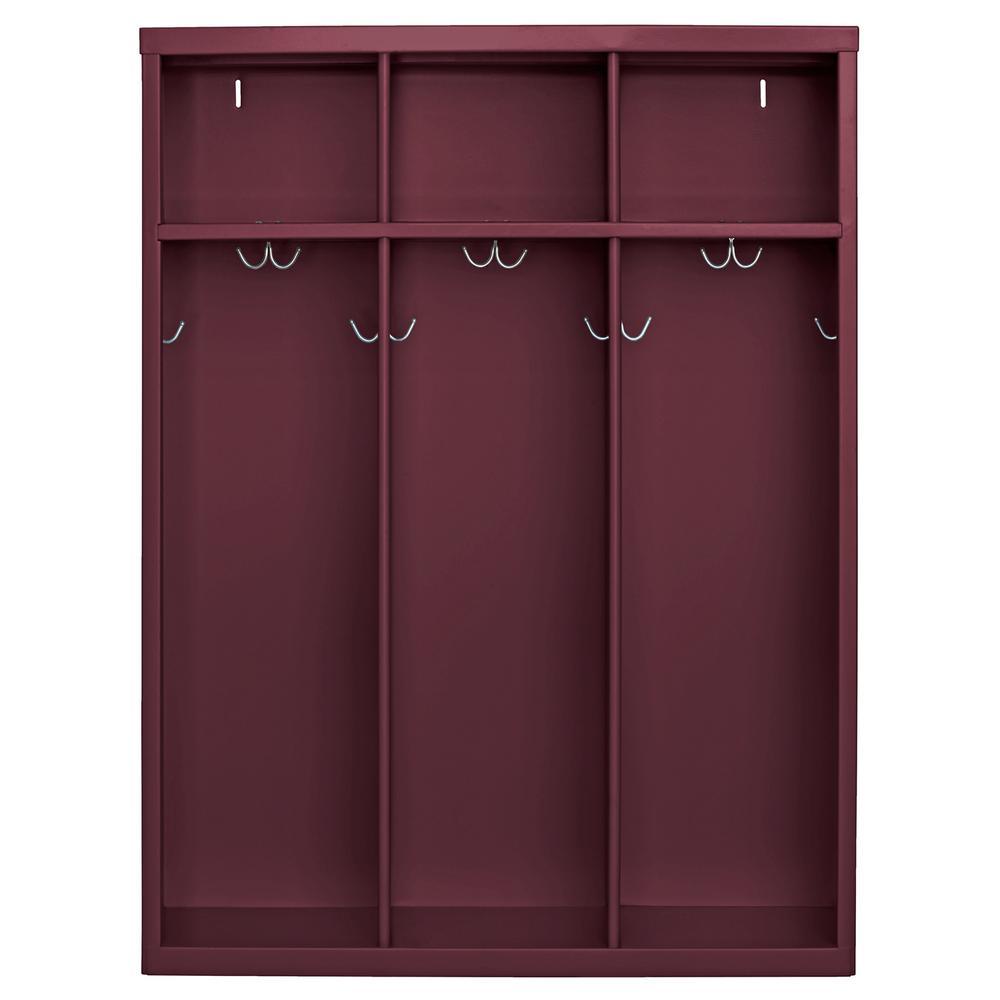 1-Shelf Steel Open Front Kids Locker in Burgundy