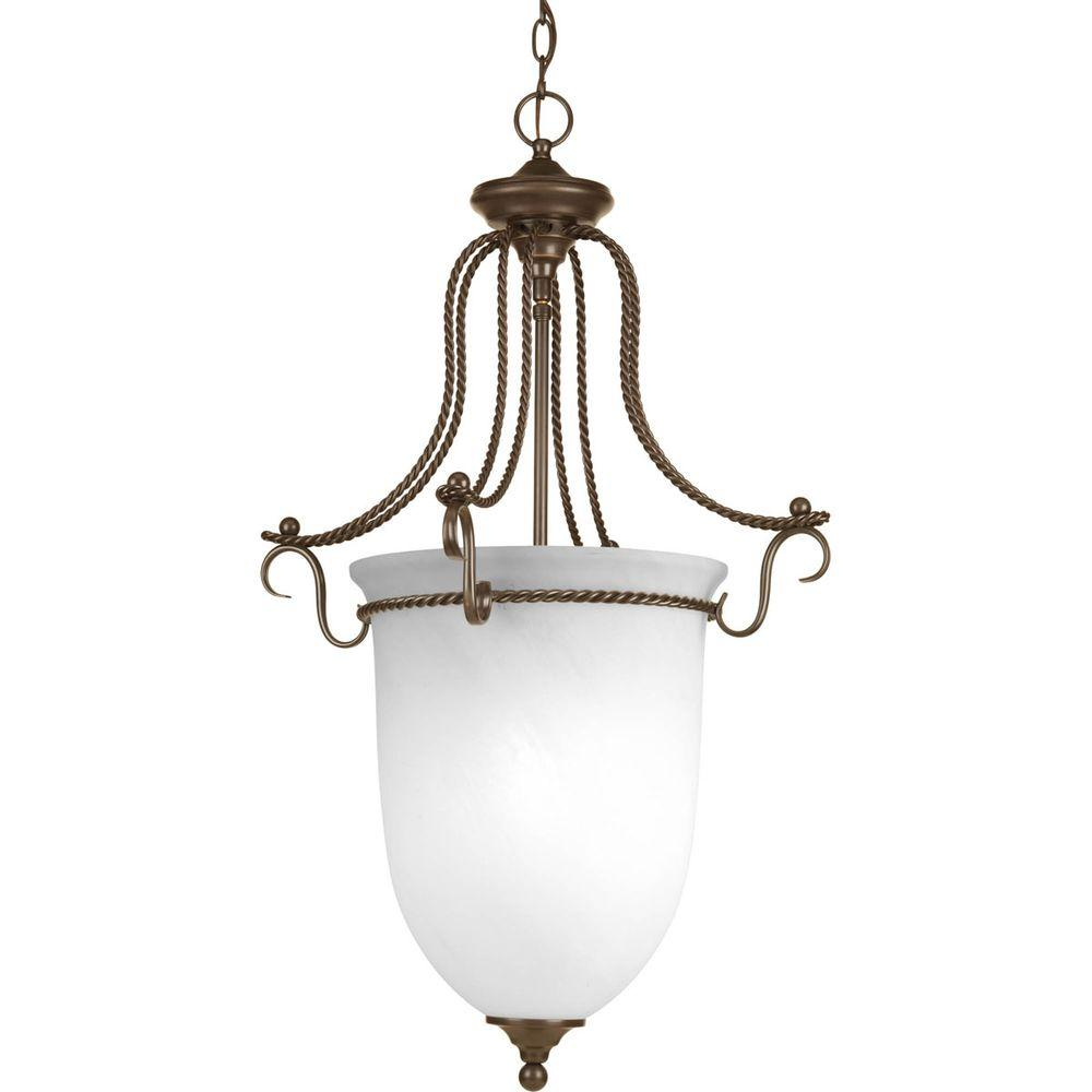 Foyer Pendant Lighting Bronze : Progress lighting avalon collection light antique bronze