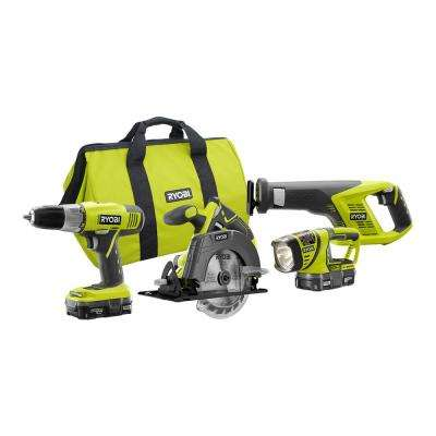 18-Volt ONE+ Lithium-Ion Cordless 4-Tool Super Combo Kit with (2) 1.3 Ah Batteries, 18-Volt Charger, and Tool Bag