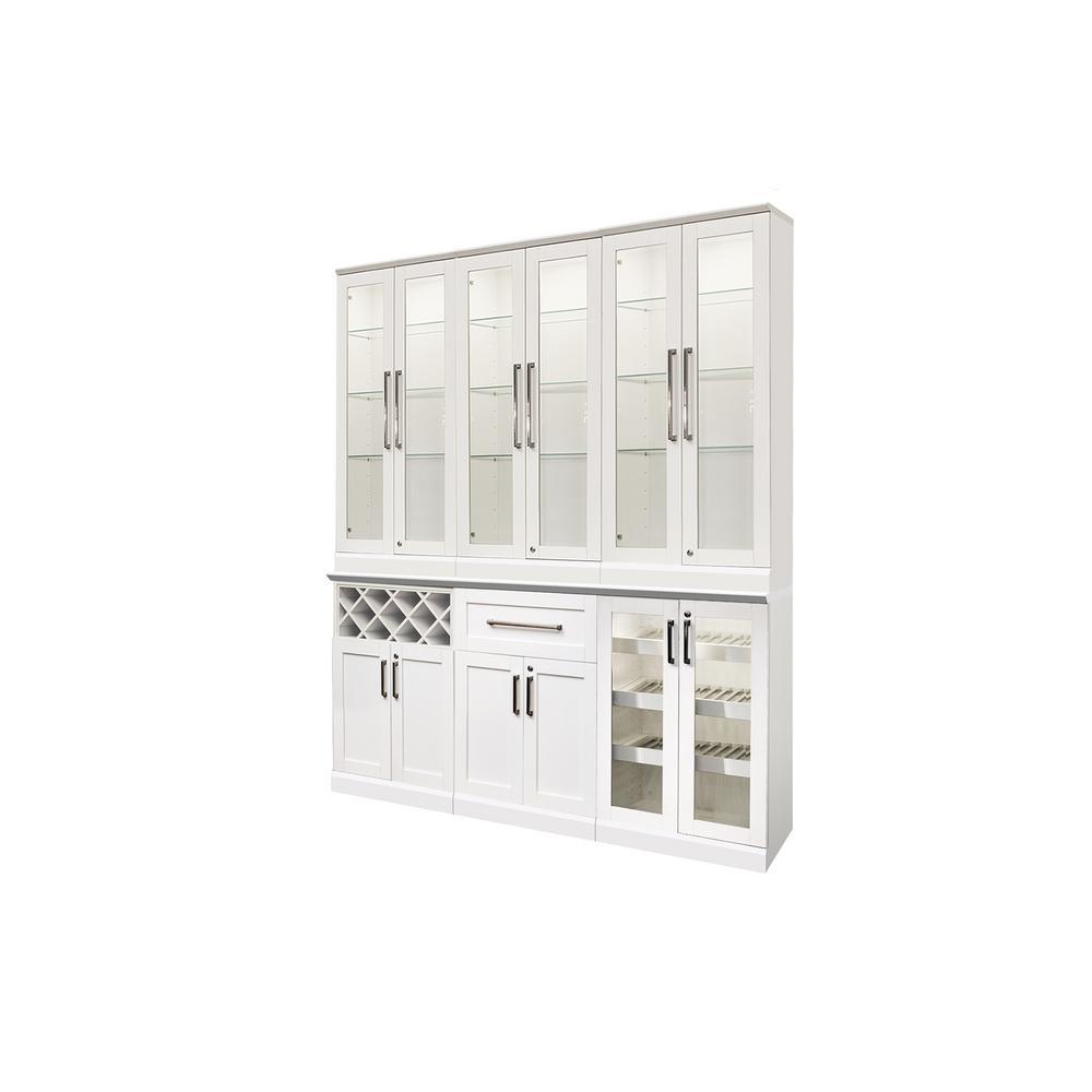 Home Bar White 7-Piece Shaker Style Bar Cabinet