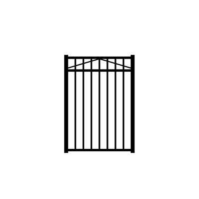 Jefferson 3 ft. W x 4.5 ft. H Black Aluminum 3-Rail Fence Gate