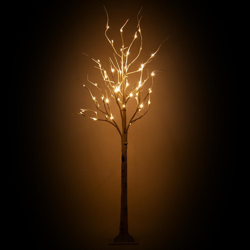Kringle Traditions Lighted Artificial 5 ft. Birch Tree with 60 Warm White  LED Lights