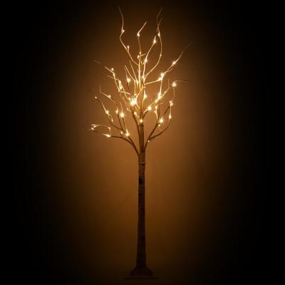Lighted Artificial 5 ft. Birch Tree with 60 Warm White LED Lights