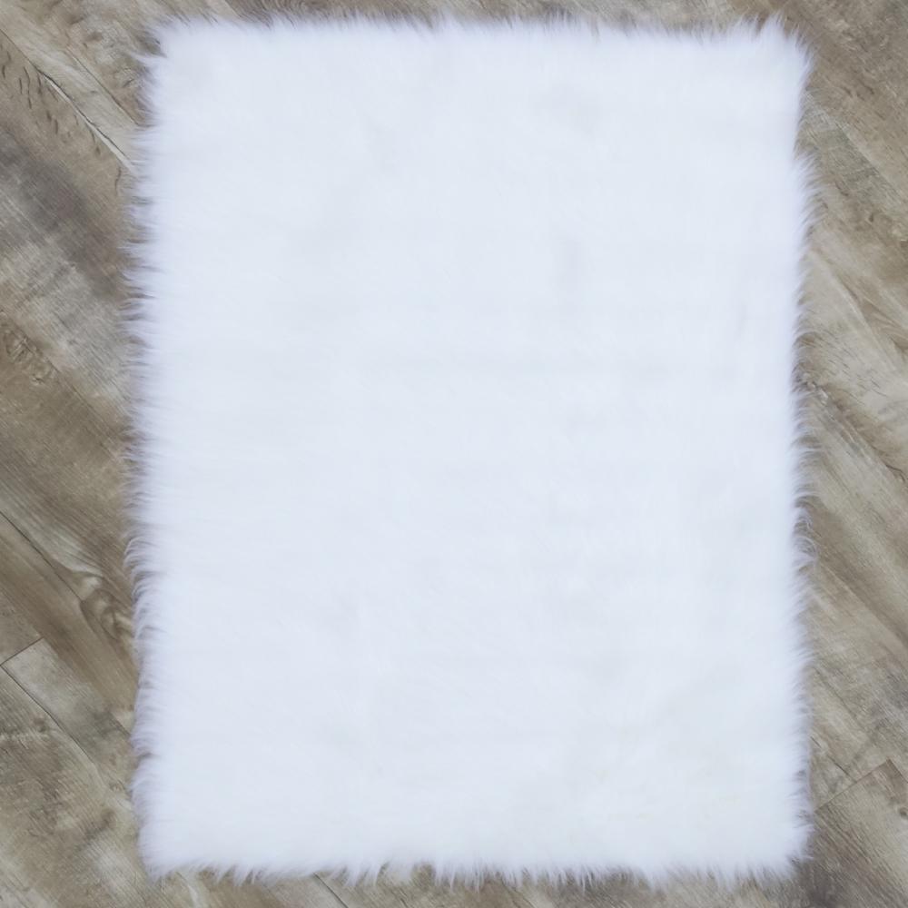 Faux SheepSkin White 4 ft. x 6 ft. Area Rug