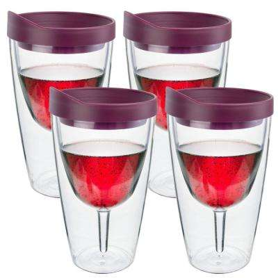 4-Piece Merlot Double Wall Acrylic Insulated Wine Tumbler Set