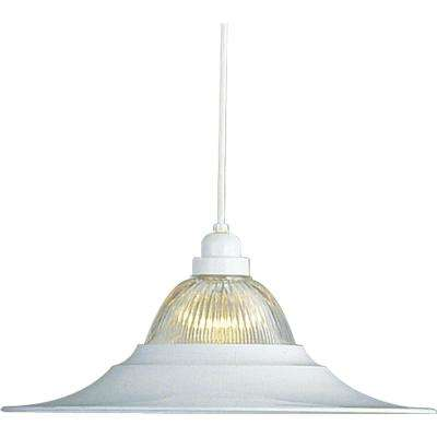 Roth 1-Light Indoor White Hanging Pendant with Clear Ribbed Glass Bowl