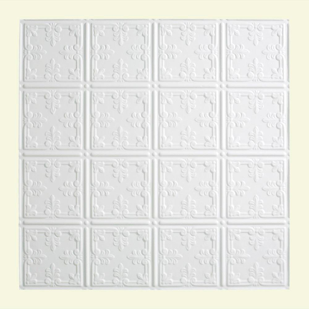Fasade Traditional 10 - 2 ft. x 2 ft. Lay-in Ceiling Tile in Gloss White