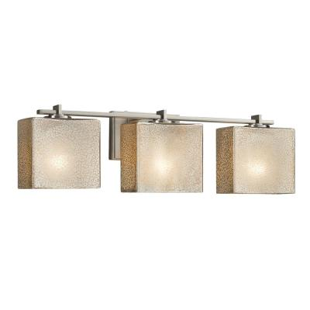 Fusion Era 3-Light Brushed Nickel Bath Light with Mercury Glass Shade