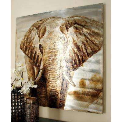 "40 in. x 40 in. ""Elephant Profile"" Painted Framed Canvas Wall Art"