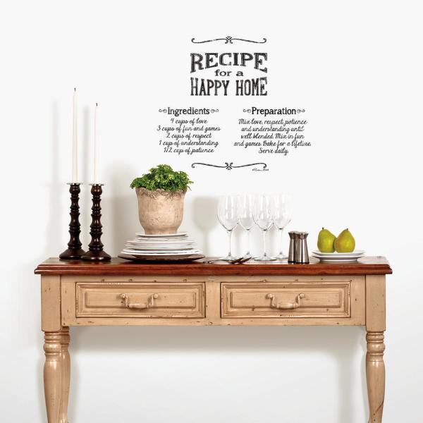 Norwall Black Lettering Happy Home Peel And Stick Wall Decals 2