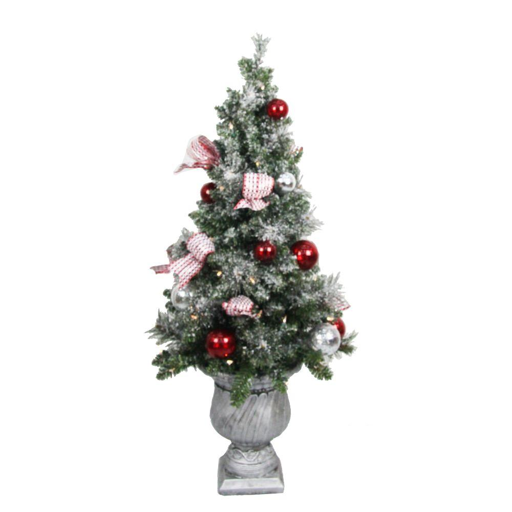 battery operated frosted mercury potted artificial christmas tree with