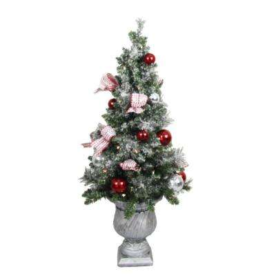 4 ft. Battery Operated Frosted Mercury Potted Artificial Christmas Tree with 50 Clear LED Lights