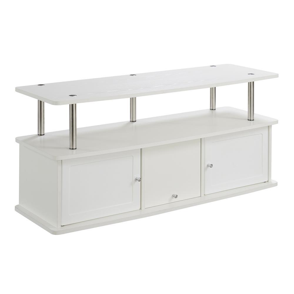 Designs2Go White 3 Cabinet TV Stand