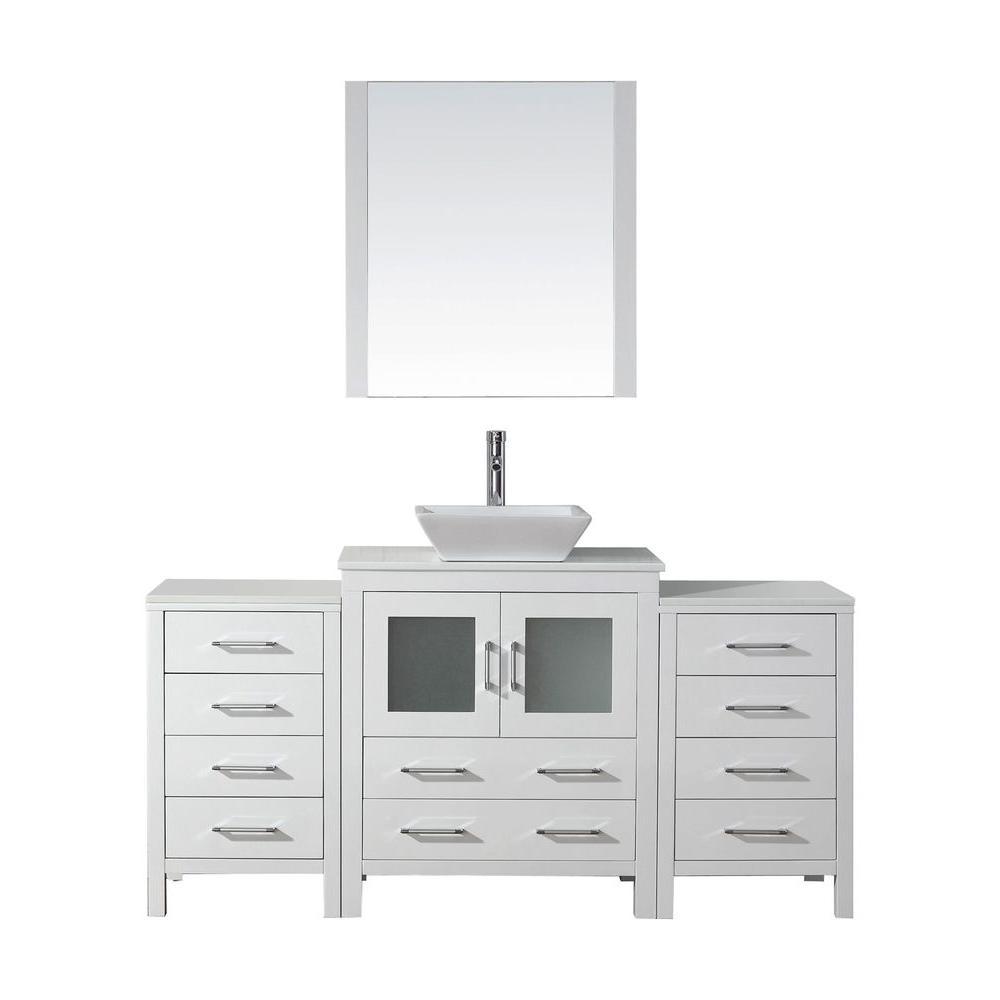 Virtu USA Dior 66 in. W x 18.3 in. D Vanity in White with Stone Vanity Top in White with White Basin and Mirror