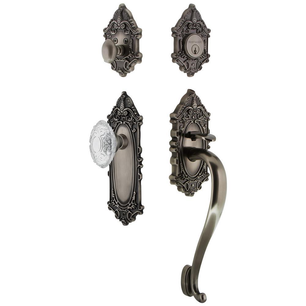 Victorian Plate 2-3/8 in. Backset Antique Pewter S Grip Handleset Crystal Victorian Door Knob