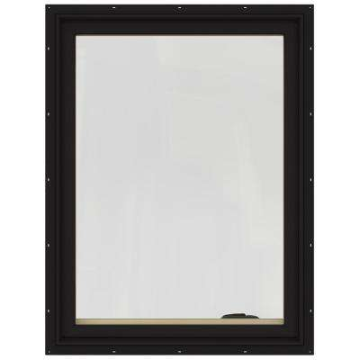 28.75 in. x 40.75 in. W-2500 Series Black Painted Clad Wood Left-Handed Casement Window with BetterVue Mesh Screen